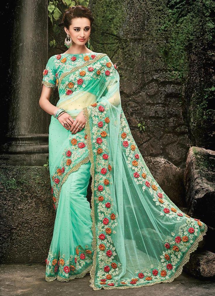 Mod Patch Border Work Sea Green Designer Bridal Sarees