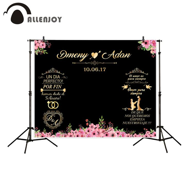 Allenjoy Backdrop For Photographic Studio Wedding Custom Chalkboard Flower Romantic Heart Photography Background Customize