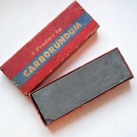 Vintage Knife Sharpening Stone Carborundum 109 6x2x1