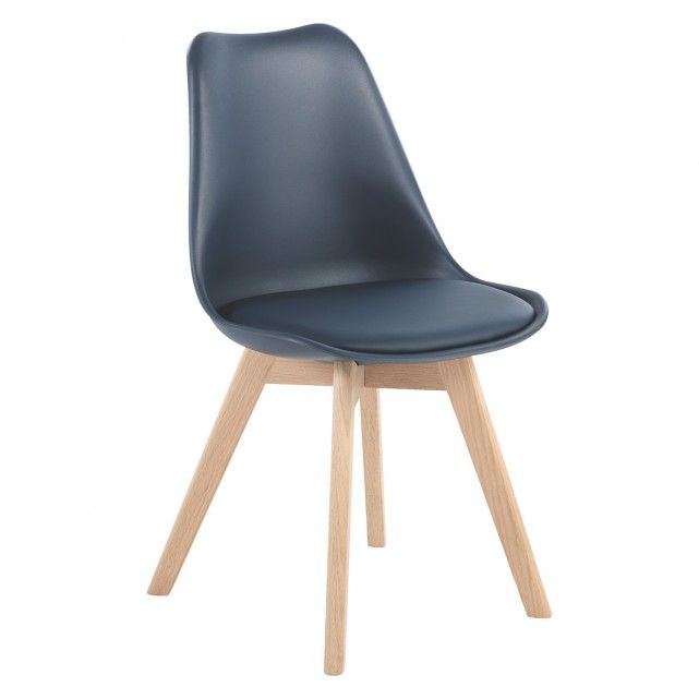 The Jerry navy dining chair is a classic design in moulded plastic with an upholstered seat pad for added comfort and white-oiled, solid oak legs.[br]Available in various colours to mix and match, the comfortable chair is exclusive to Habitat and works equally well with glass, wood or metal dining tables.