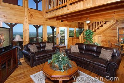 fifty mile view is a beautiful rustic 2 br log cabin over the smoky mountains the cabin opens into the living room that features beautiful hardwoo