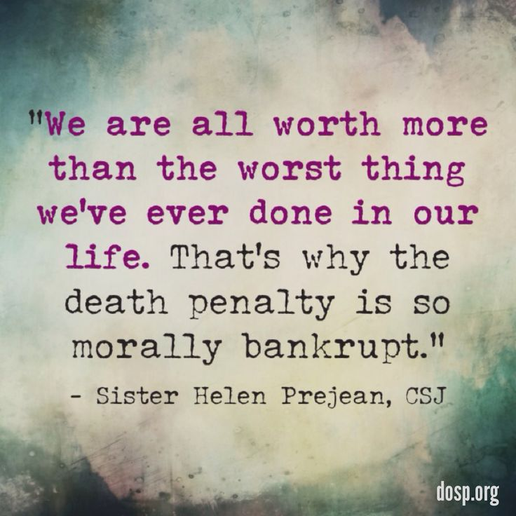 """""""We are all worth more than the worst thing we've ever done in our life. That's why the death penalty is so morally bankrupt."""" - Sister Helen Prejean, CSJ  Read more about Sr. Helen's recent talk at the Franciscan Center in this Tampa Bay Times article: http://s.dosp.org/1hFDXVp"""