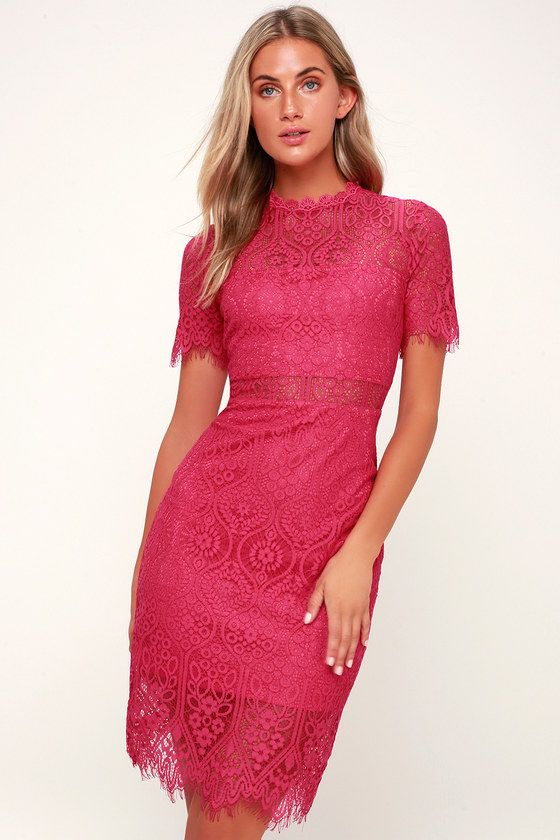 5c52c51ae46b Lulus Exclusive! The Remarkable Fuchsia Lace Dress is the perfect frock for  any occasion! A fuchsia lining creates a cool two-piece look beneath sheer  lace.
