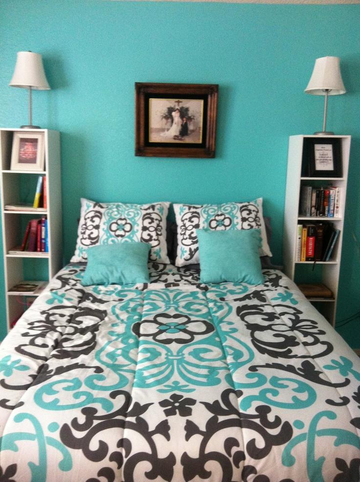 Tiffany Blue, Dark Grey And White Bedroom
