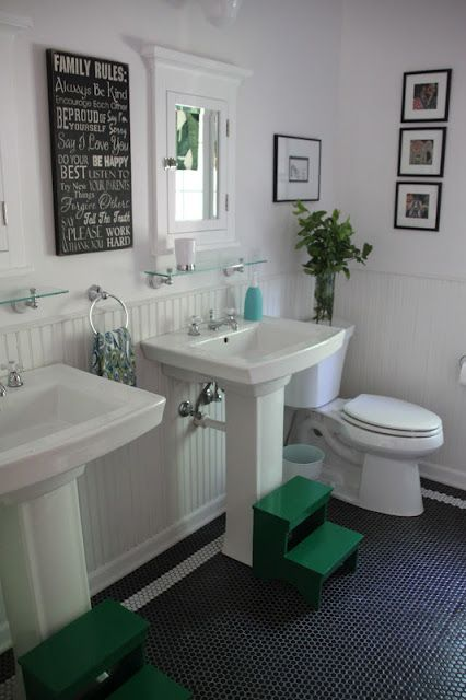 my best friend craig: KIDS' BATHROOM: THE REVEAL  I love the crisp clean white with the splashes of green! Kid friendly yet mature
