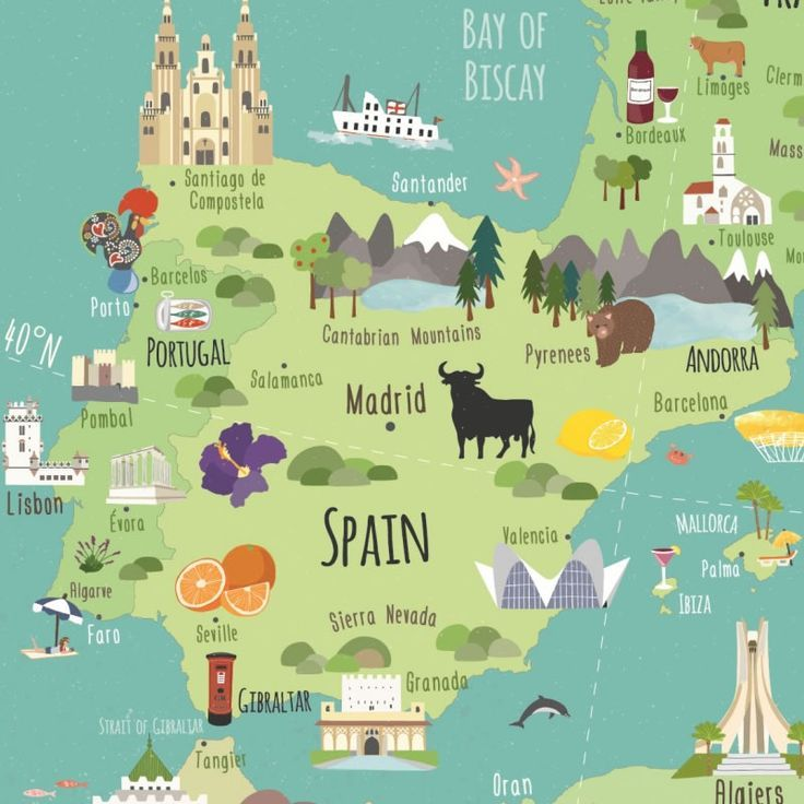 Map Of Spain And North Africa.Travel Infographic Illustrated Map Of Europe Mediterranean
