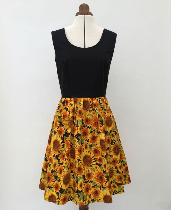 Black and yellow sunflower print dress retro tea by TheDressTree