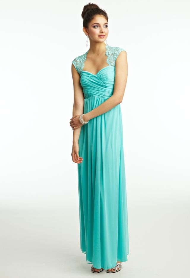 Teal Bridesmaid Dresses with Lace Sleeves