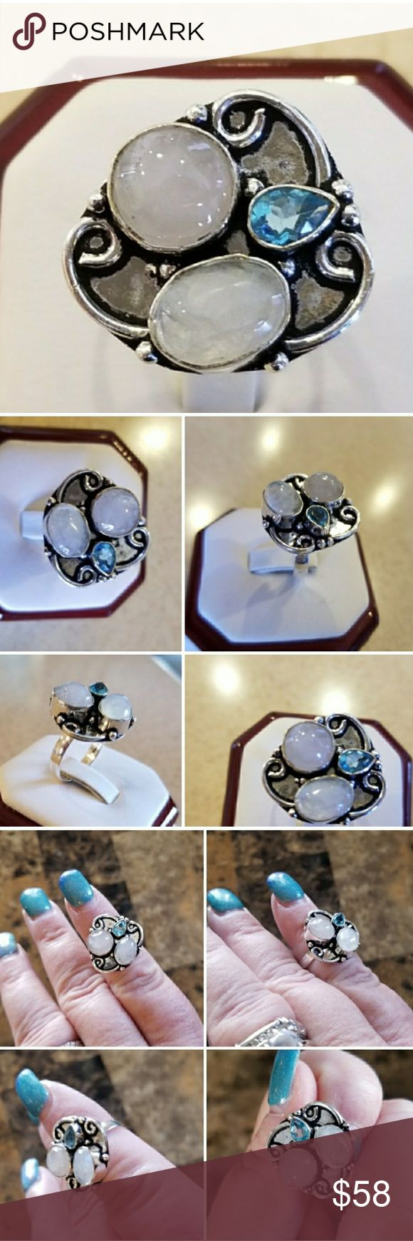 Genuine Rainbow Moonstone & Blue Topaz Ring 7 This ring is very pretty! The Blue Topaz lends a striking contrast!  Set in 925 stamped Solid Sterling Silver. Please see all pictures for more detail and measurement. Brand New. Never Worn. WHOLESALE Prices Always! Jewelry Rings