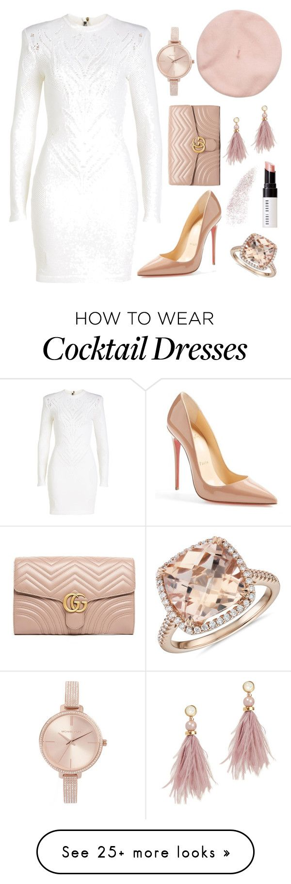 """""""Untitled #433"""" by pinkypenguin04 on Polyvore featuring Balmain, Gucci, Christian Louboutin, Lizzie Fortunato, Michael Kors, Blue Nile and Bobbi Brown Cosmetics"""