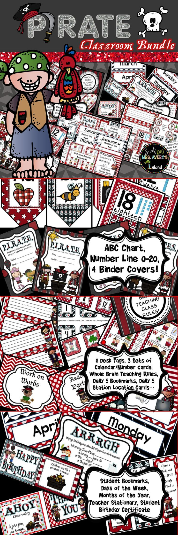 """This pirate themed classroom decor packet is full of classroom essentials for elementary teachers.  These creative printables will help teachers with organizing their classroom, and students will LOVE the pirate theme!  Click here for creative ideas and tips and give your classroom a """"one of a kind"""" flair that can't be bought at a school supply store anywhere!"""