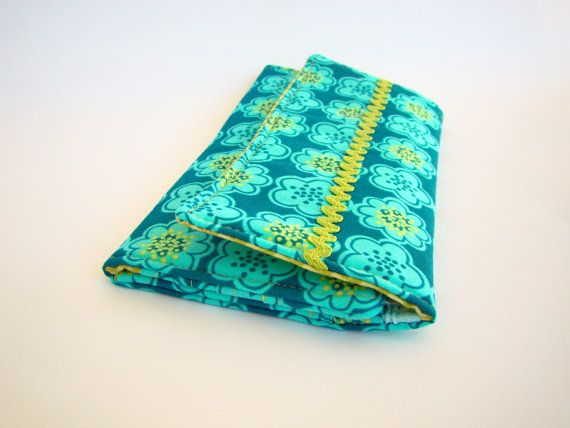 Women Wallet in a Teal and Turquoise Floral Dots by SofiAlgarvia, €25.00