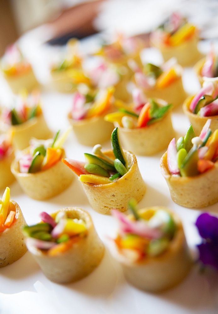 Party Food Serving - Appetizers - Food Presentation - Food Styling - Food Plating - seasoned steamed crisp veggies in buttery toast circles
