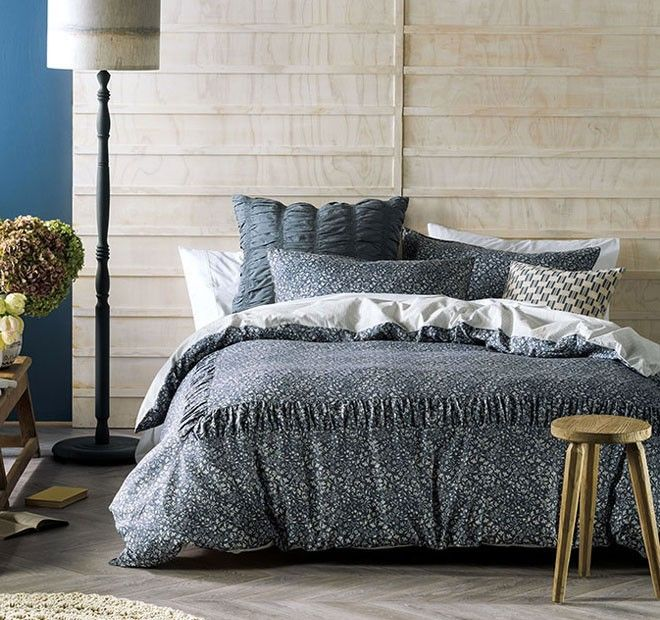 Manon Quilt Cover Set Range Indigo | Manchester Warehouse
