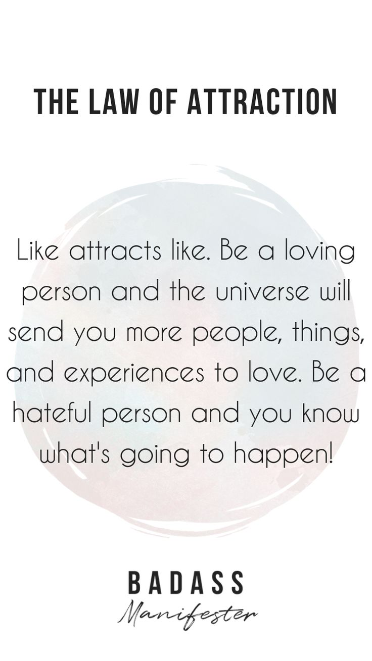 The law of attraction states that like attracts li…