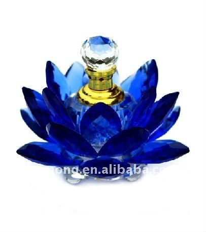 Blue lotus flower crystal perfume bottle for event gifts