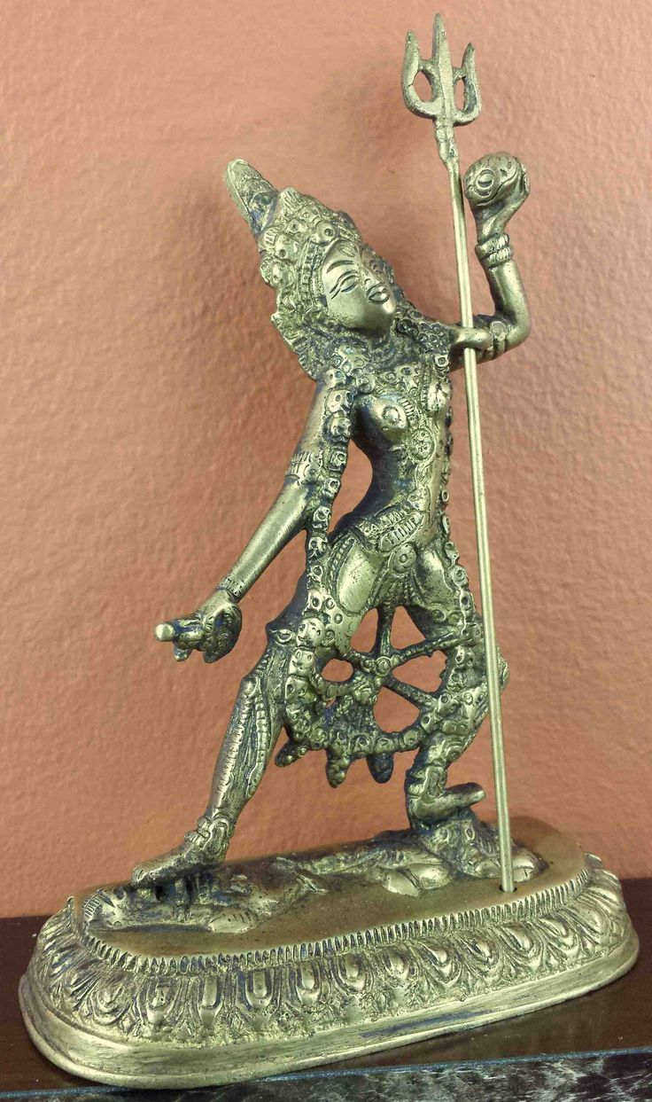 Hindu goddess kali statue figurine sculpture antique brass finish home decor - Statue deco interieure ...