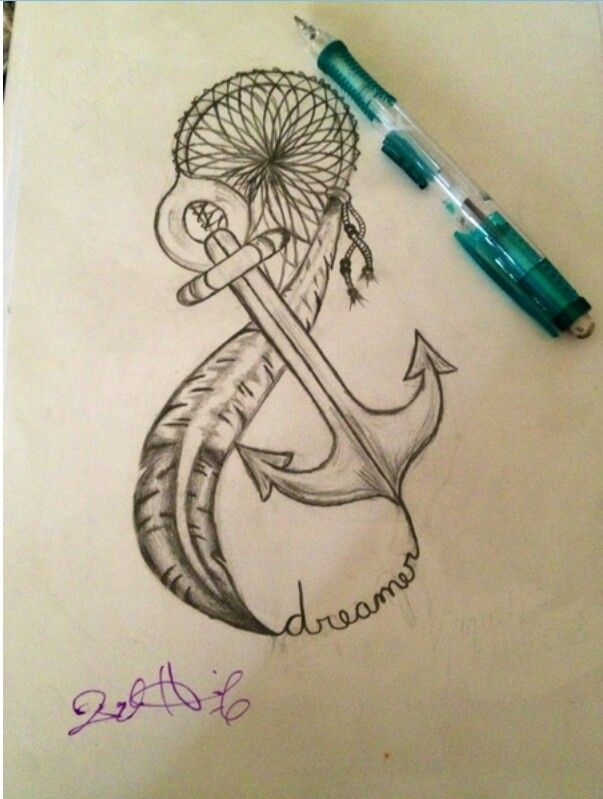 Awesome anchor feather dream catcher tattoo idea