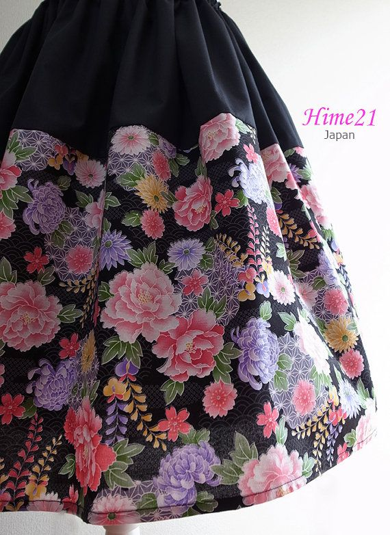 Japanese pattern cotton SkirtBlack and FlowerWaist  by Hime21, ¥5500