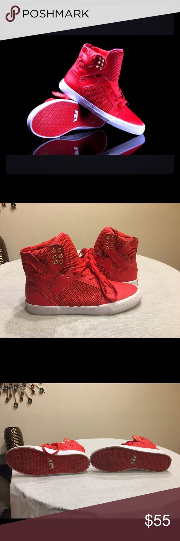 Supra Sneakers Red and white Supra Sneakers. Women's size 8.5. New condition! As you can see in the pictures. Supra Shoes Sneakers