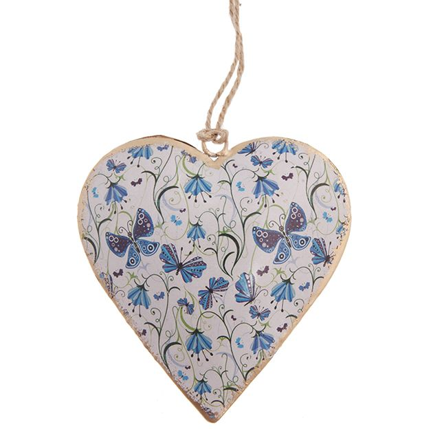 Vintage Blue Butterfly Hanging Heart | Hanging Hearts & Tokens | Hearts | Shop by Collection | Wholesale Giftware, Gifts and Interior Decor | RJB Stone Ltd.