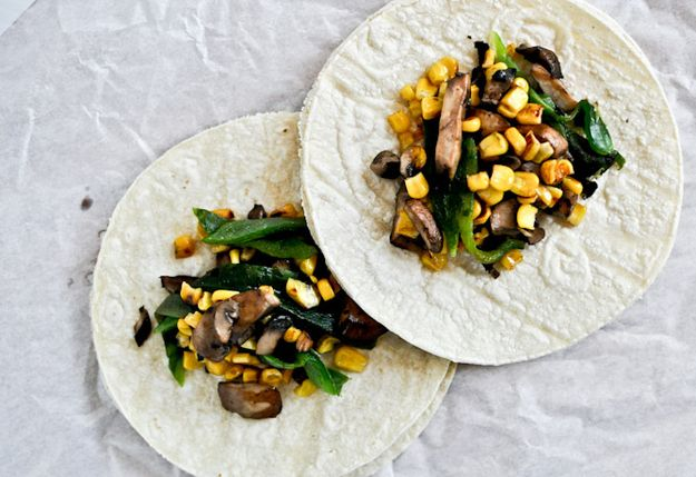 Grilled Corn, Mushroom And Poblano Tacos | 38 Grilling Recipes That Will Make You Want To Be Vegetarian