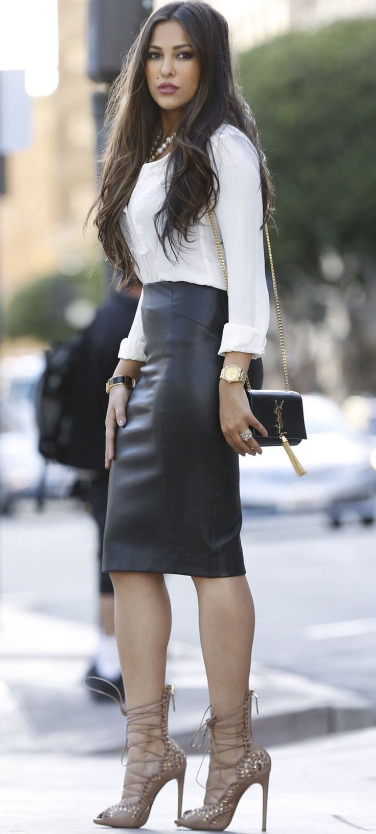 Black leather high waisted midi skirt with strappy heels #highheelbootsskirt #blackhighheelsoutfit