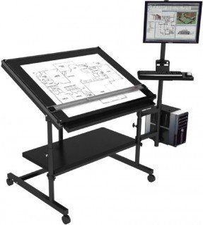 "Professional Drafting Table 48""x36"" - Black Frame, Black Surface"