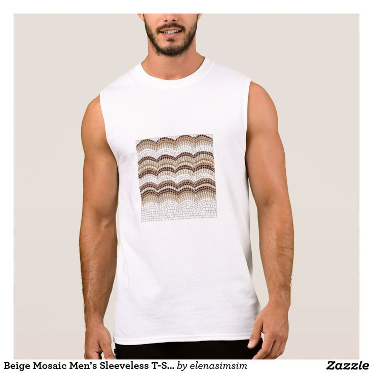 Beige Mosaic Men's Sleeveless T-Shirt