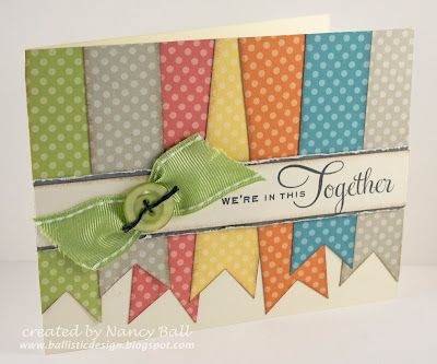 cute card/ stipes too wide, over lap at angle and it looks like they are fluttering
