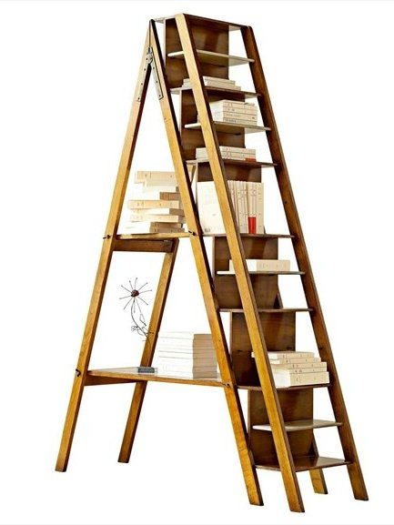 Cherry wood shelving unit ARCHITECTE by ROCHE BOBOIS #books #wood #stair