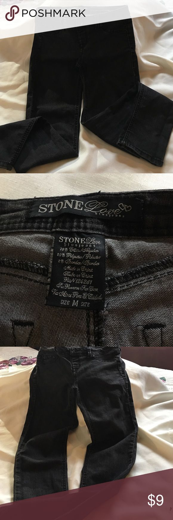 Stone Love brand  jeans cotton polyester spandex Stone Love jeans Medium size. Juniors straight leg style stretch fabric in gray Stone Love Jeans Ankle & Cropped