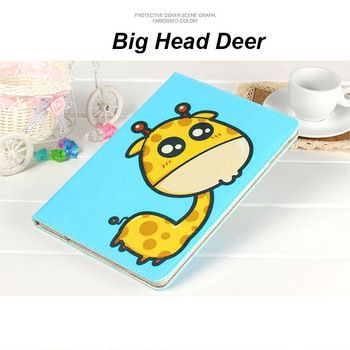 For iPad mini 1 2 3 case Leather Case For iPad air 2 Cute Cartoon Kissing Giraffe PU Cases With touch pen For iPad air