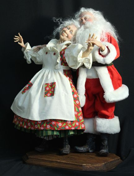 "Mr. and Mrs. Santa Claus, ""Eternal Love"" Heirloom Figures by Jack Johnston"