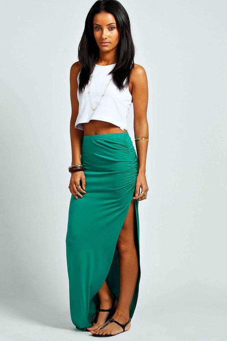 Womens sea green maxi skirt from boohoo.com - £8 at ClothingByColour.com