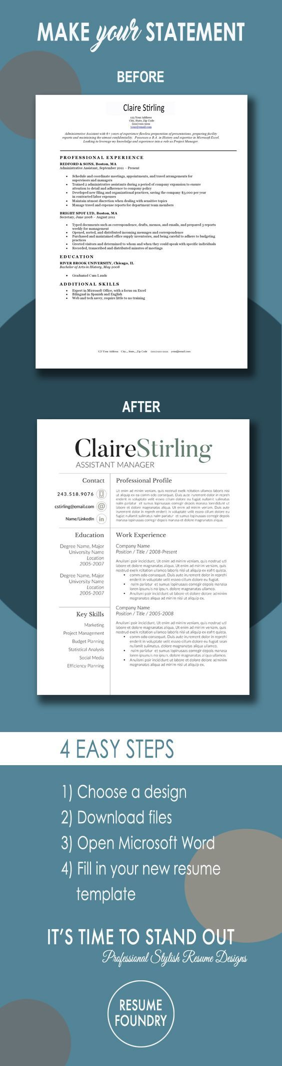 microsoft word letter of resignation%0A Modern Resume Template for Word     Page Resume   Cover Letter   Reference  Page   US Letter   INSTANT DOWNLOAD   Claire