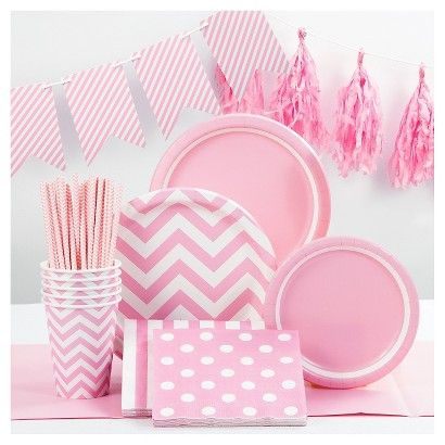 Add a pop of color to your next special celebration with theSpritz Light Pink Party Collection.The vibrant and trendy prints will coordinate beautifully with solids and other colors to bring your party theme to life. With premium strength plates, 3 ply napkins, and reusable décor, these collection pieces offer high quality at a fantastic value. The Spritz Light Pink Party Collection is great for baby showers, Bachelorette parties, kids parties, baptisms, wedding showers, Easter, moth...