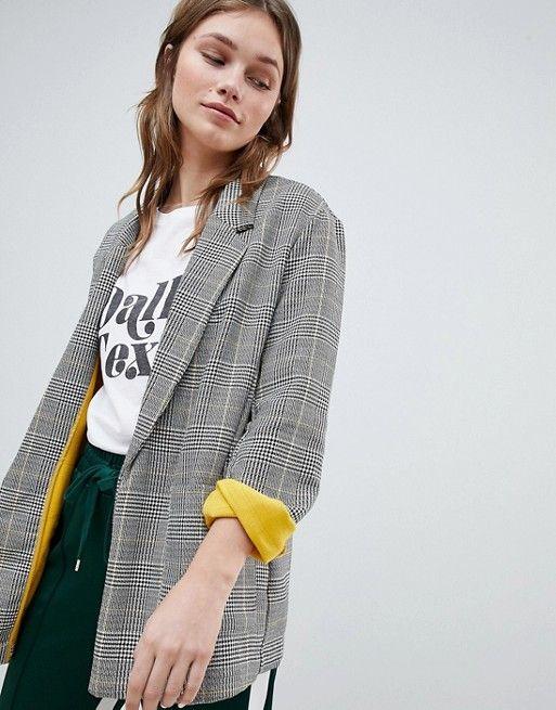 fa745d165 Bershka contrast blazer in multi check in 2019 | Clothes | Blazer ...