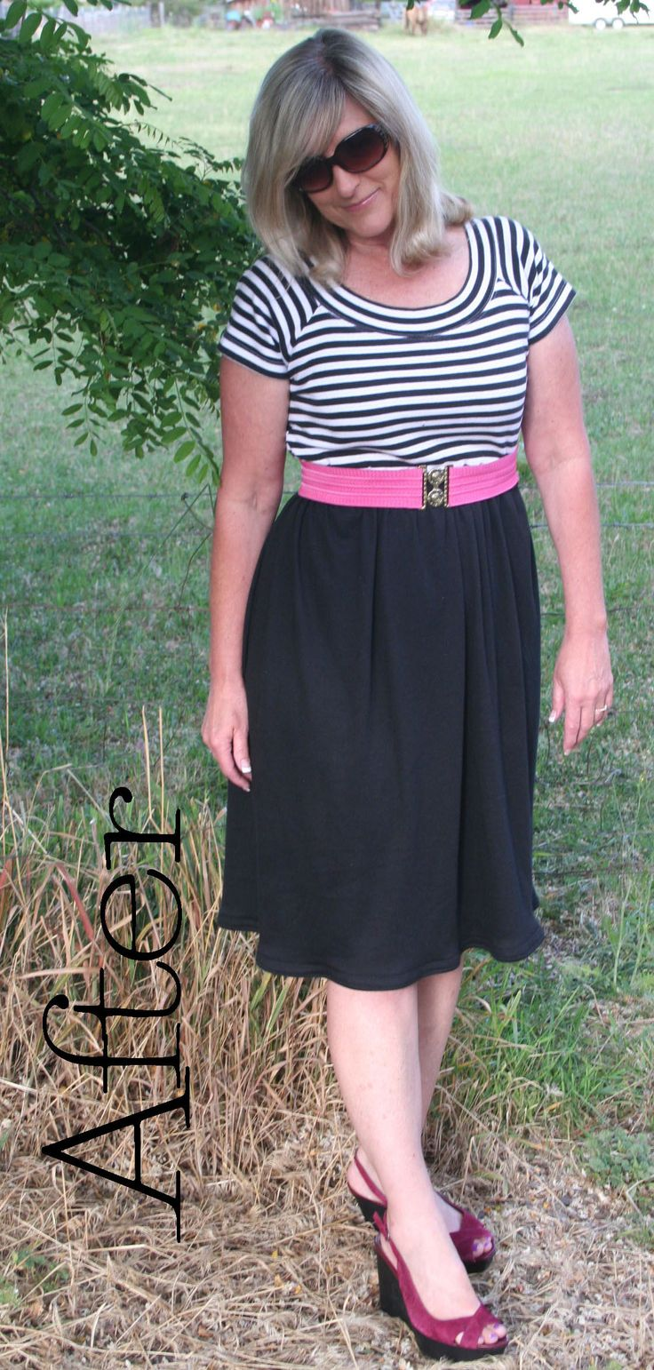DIY T Shirt Dress Tutorial: start with a T-shirt find at a thrift store