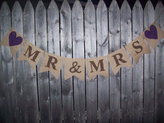 MR & MRS Burlap Banner Brown/Eggplant Purple Bunting Photo Prop Sign Garland Country Chic Wedding Reception