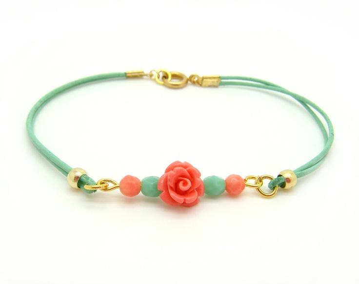 Mint and Coral Beaded bracelet - Bohemian Pastel Mint Leather Bracelet - Mint & Coral faceted beads and Rose. $15.50, via Etsy.