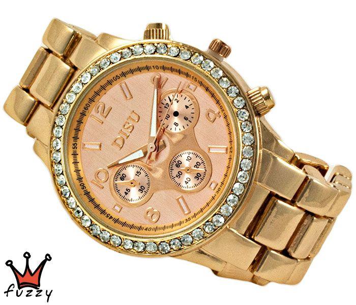 Γυναικείο ρολόι, με κάσα σε ροζ χρυσό και στολισμένο εξωτερικά με στρας.  Ροζ χρυσό μπρασελέ.  Διάμετρος καντράν 40 mm