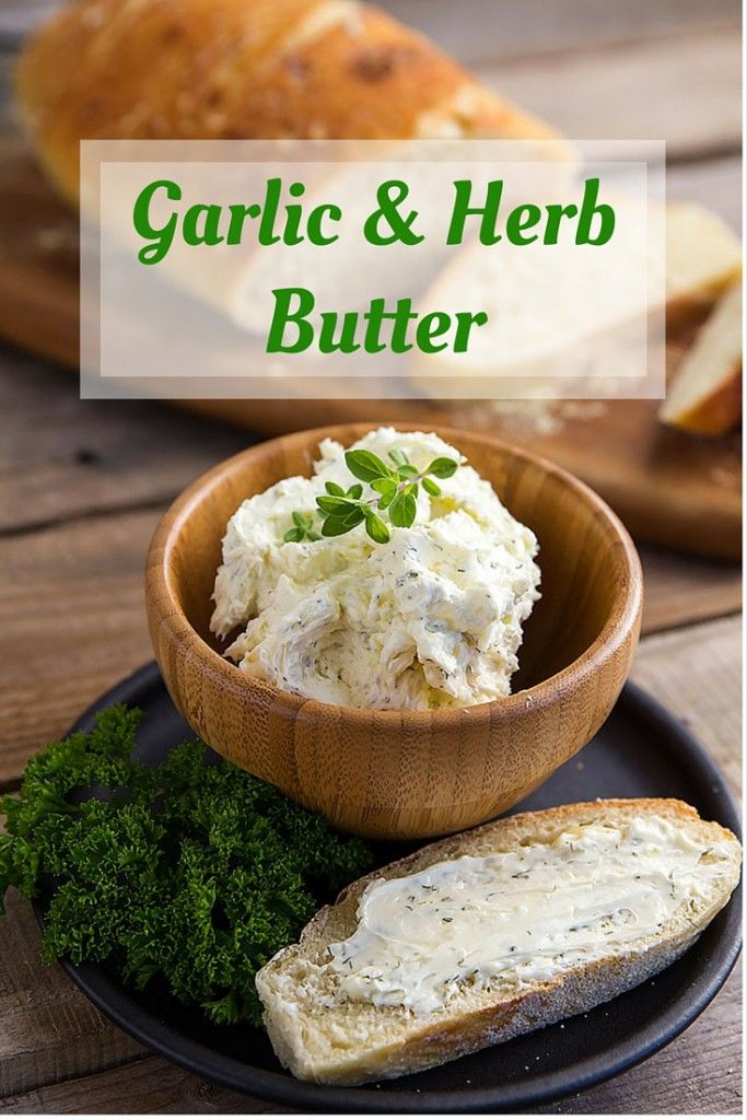 Garlic and Herb Butter Simple whipped butter recipe with garlic and herbs. // gatherforbread.com