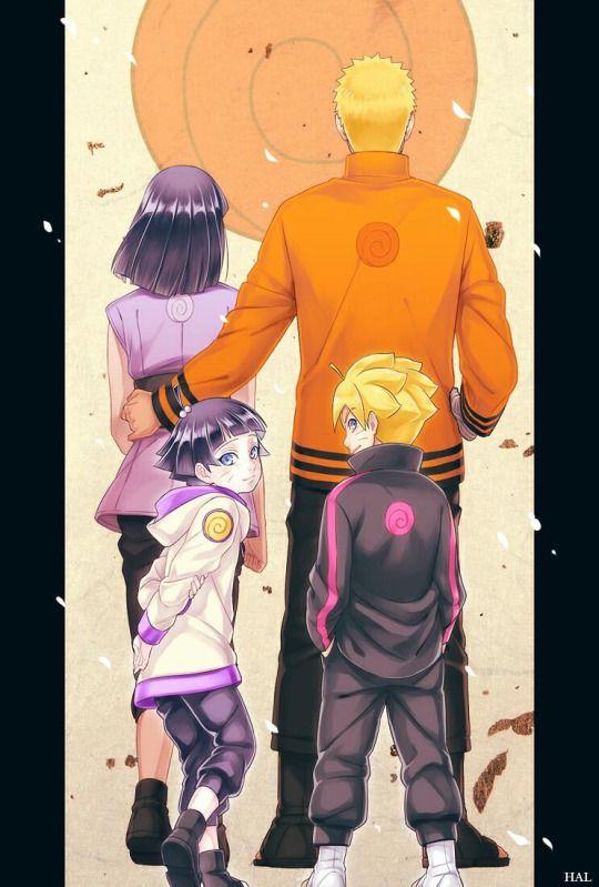 Naruto, Hinata, Himawari and Bolt