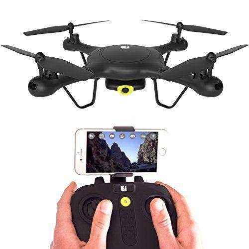 SPECTRE Drone avec caméra HD - App vue en direct - Mini RC quadri-hélices avec verrouillage daltitude - Wi-Fi et FPV