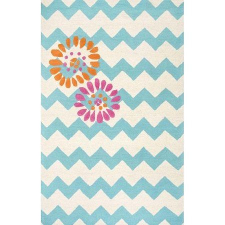 nuLOOM Hand-Tufted Floral Chevron Area Rug or Runner, Blue