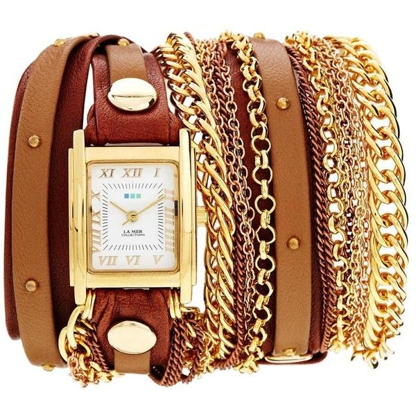 La Mer Arizona Duo Chain & Stud Brown Watch (1,875 MXN) ❤ liked on Polyvore featuring jewelry, watches, accessories, bracelets, relogios, brown, wrap watches, square face watches, bracelet watches and wrap around bracelet