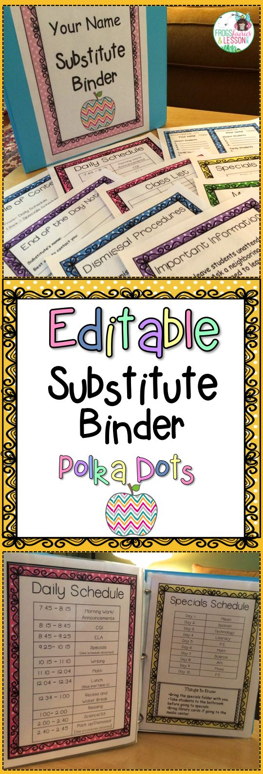 EDITABLE substitute binder! Cover choices and templates that will make it easy for you to take a sick day when you need one! Just click and edit each page for a professional looking and effective Substitute Binder! Polka Dots theme