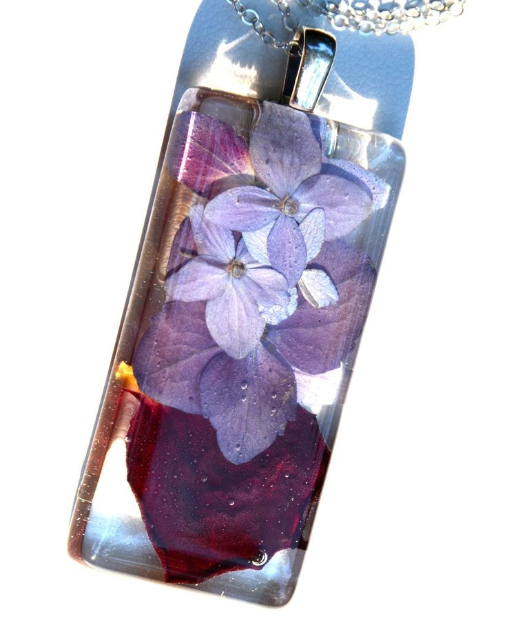 Summer Flowers in Resin Necklace, nature resin, resin jewelry, resin, contemporary jewelry. $28.00, via Etsy.