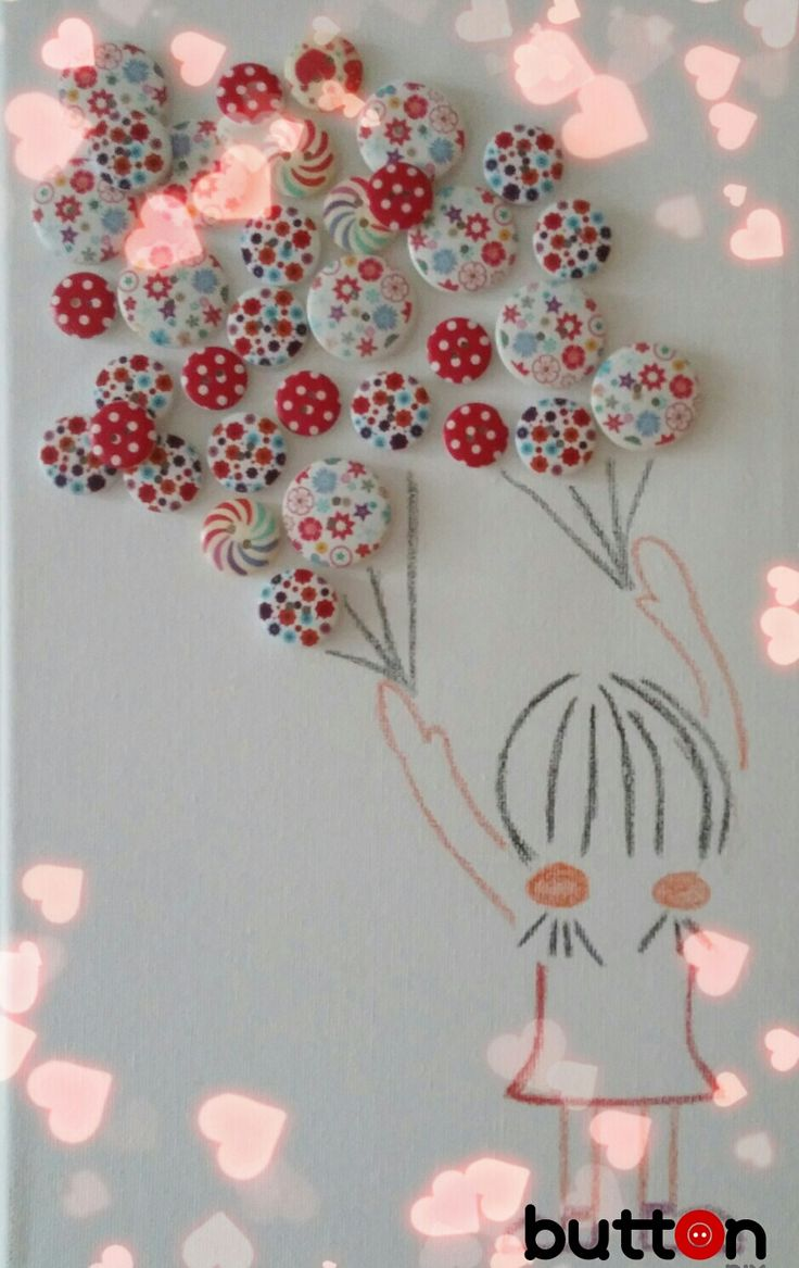 Ballon, buttons, color pencils, home decor, hand made Balonky, barevné pastelky, domácí dekoraca, ruční práce